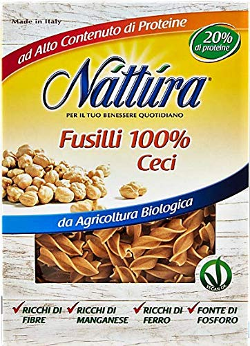 Nattura Vegan Fusilli Di Ceci Biologici OK Ricchi di Proteine, Fibre, Ferro, Manganese e Fosforo - 1 x 250 Grammi