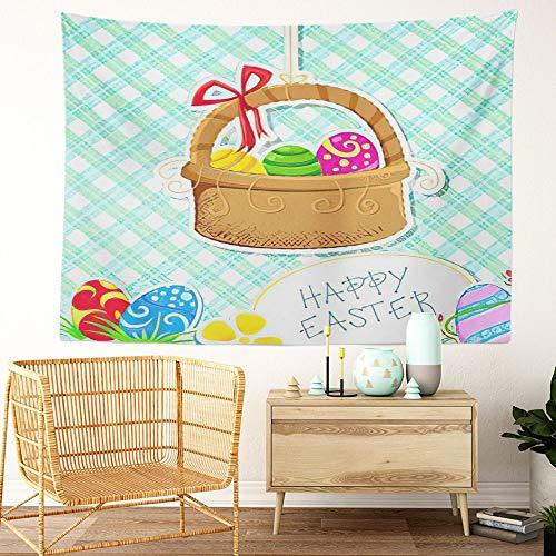 Y·JIANG Cesta de Pascua con diseño de huevos de Pascua coloridos con cinta decorativa para dormitorio del hogar, gran tapiz para colgar en la sala de estar, dormitorio, 80 x 60 pulgadas