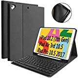 iPad 7th Generation Case Keyboard 10.2' 2019, Keyboard Case for iPad Air 3 10.5' 2019 (3rd Gen)/iPad Pro 10.5 inch 2017-Detachable Wireless Bluetooth Keyboard, Magnetic Smart Case with Pencil Holder
