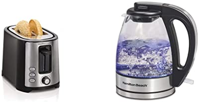 Hamilton Beach 2 Slice Extra Wide Slot Toaster, Black (22633) & Beach Glass Electric Tea Kettle, Water Boiler & Heater, 1 L, Cordless, LED Indicator, Auto-Shutoff & Boil-Dry Protection (40930), Clear