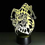 Cambio de color 3D Payaso Joker LED Luz de noche Acrílico Colorido Gradiente Ambiente Ilusión Lámpara Vacaciones familiares Regalo de Halloween