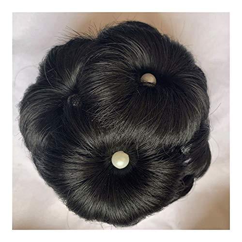 MADONG Cheveux plaque de tête bourgeon tête boulette paquet d'Europe disque les accessoires for cheveux fleurs perlées attraper pince-neuf (Color : Brown)