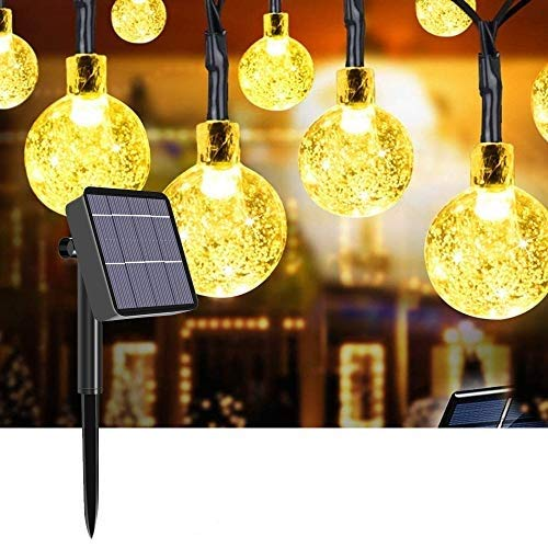 Solar String Lights Outdoor, Gaoni Outdoor Solar Garden Lights (60 LEDs 8 Modes) 11M IP64 Waterproof Crystal Ball LED Fairy Lights Decorative Lighting for Garden, Home, Wedding, Party (Warm White)