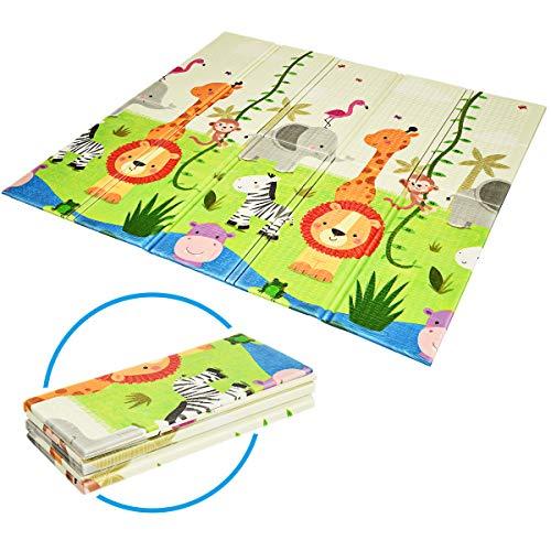 COSTWAY Baby Spielmatte faltbar, Babymatte doppelseitig, Krabbelmatte aus XPE Material, Krabbeldecke, Spielteppich für Babys, Säuglinge und Kleinkinder, 200 x 180 cm (Grün)