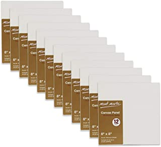 Mont Marte Canvas Panel (pack of 12), 8 X 8 inches, Canvas Panel Great for Students to Professional Artists