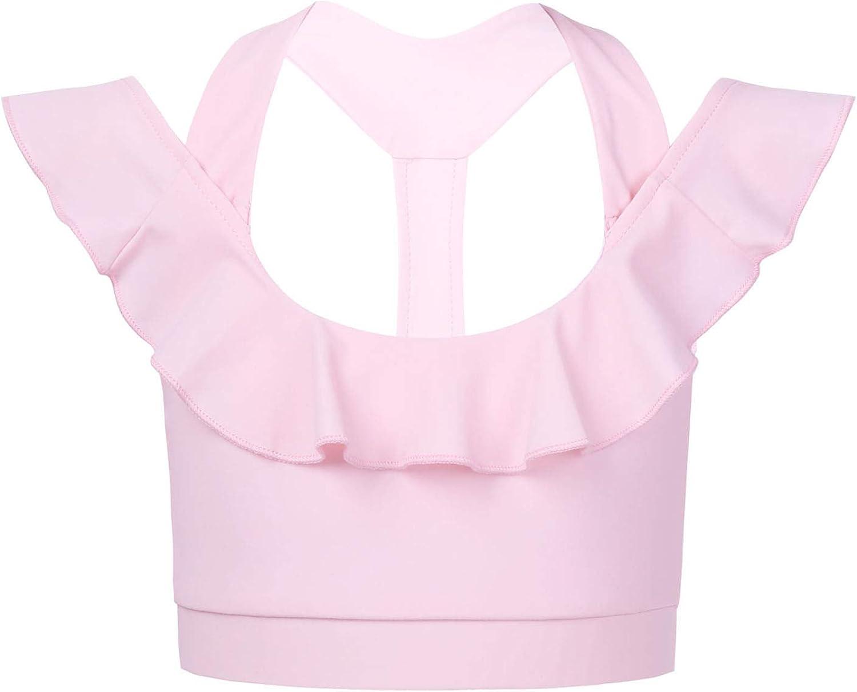Huimingda Kids Girls Strappy Ruffle Sports Bra Backless Cami Crop Tank Top Running Fitness Dance Shirt