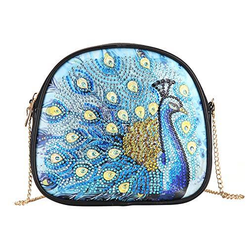 Bolsos de pintura de diamantes, para manualidades, diseño de pavo real, con forma especial, con cadena de cuero