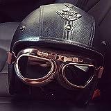 LALEO Fatto a Mano personalità PU Cuoio Retro Harley Open Face Casco da Moto, Traspirante Removibile con Goggle Adatto per Donna e Uomo Adulto, Casco Jet, Omologato ECE S-XXXL (55-65cm),B,M