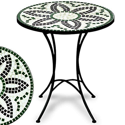 Deuba Mosaiktisch Flora rund Gartenmöbel Balkon Garten Terrasse Bistro Tisch pulverbeschichtetes Metall schwarz