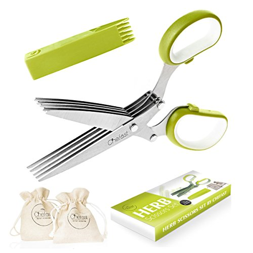 Chefast Herb Scissors Set – Shears with 5 Stainless Steel Blades, with Jute Pouches, Safety Cover, and Cleaning Comb