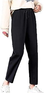 سروال نسائي كاجوال رياضي نسائي مع بناطيل مريحة مع جيب مضاد للوبر سروال حريم كاجوال رقيق وجامح (اللون: أسود، المقاس: L)