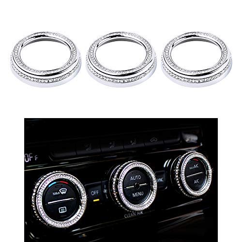 VDARK 3 piezas de accesorios para interior de coche de cristal AC Knob Cover accesorio para Volkswagen CC Arteon Tiguan Magotan Passat plateado