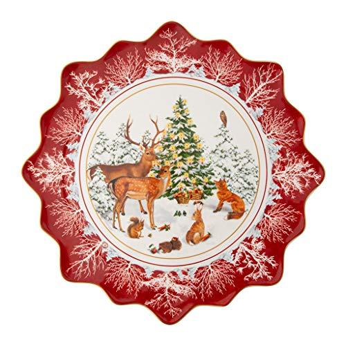 Villeroy & Boch - Toy's Fantasy Assiette à biscuits Animaux de la forêt grande, assiette à pâtisseries en porcelaine premium, adaptée au micro-ondes, 42 x 42 x 2 cm, multicolore/rouge/blanc