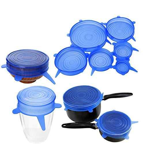 Zzyx Hi Lot de 6 couvercles universels réutilisables en silicone pour ustensiles de cuisine, bol, casserole, accessoires de cuisine