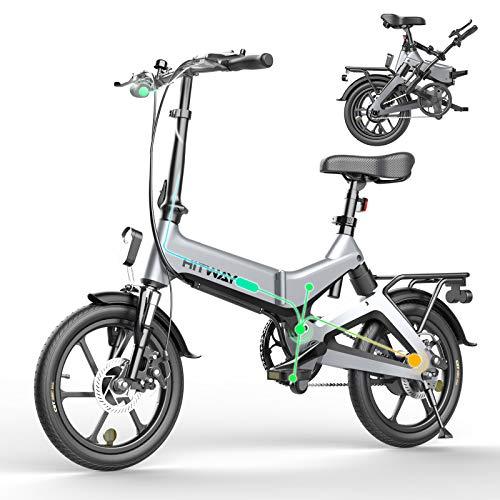 HITWAY Bici elettrica Leggera da 250 W Pieghevole elettrica con pedalata assistita con Batteria da 7,5 Ah, 16 Pollici, per Adolescenti e Adulti (Grigio)