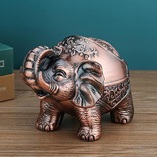 Cenicero Hogar Sala De Estar Moda Creativa Personalidad Tendencia Anti-Vuelo Gris Lindo Luz De Lujo Oficina-Elefante Auspioso (Bronce Rojo)