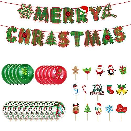 Ballonnen, kerstdecoratie, ballonset, vrolijk Kerstmis, banner, ballonnen, rood en groen, voor Kerstmis, Nieuwjaar…