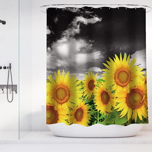 Rustikaler Sonnenblumen-Duschvorhang aus wasserdichtem Polyester, Landhausstil, Landhausstil, Landhauslandschaft, Duschvorhänge mit Haken, maschinenwaschbar, 182,9 x 182,9 cm