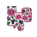 Kate Spade Floral Blockprint Kitchen Towel, Oven Mitt, and Pot Holder Set, Multi-Color