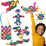 Clixo Rainbow 42 Piece Pack- The Flexible, Durable, Imagination-Boosting Magnetic Building Toy- Modern, Modular Designs for Hours of STEM Play. A Multi-Sensory Magnet Toy Experience Anywhere! Ages 4-8