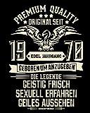 Schürze mit Geburtstagsurkunde - Edel Jahrgang 1970 Geschenk für den Jahrgang 1970 Männer & Frauen Grillschürze 50. Geburtstag Farbe:schwarz - 2