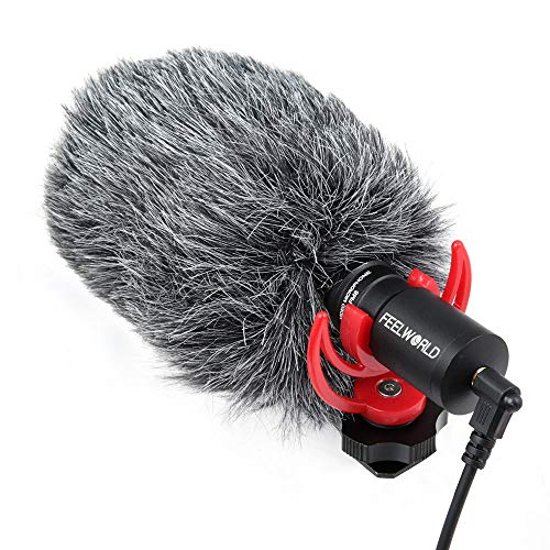 FEELWORLD FM8 Universal Compact Shotgun Video Microphone with Shock Mount, Wind Shield and 3.5mm...