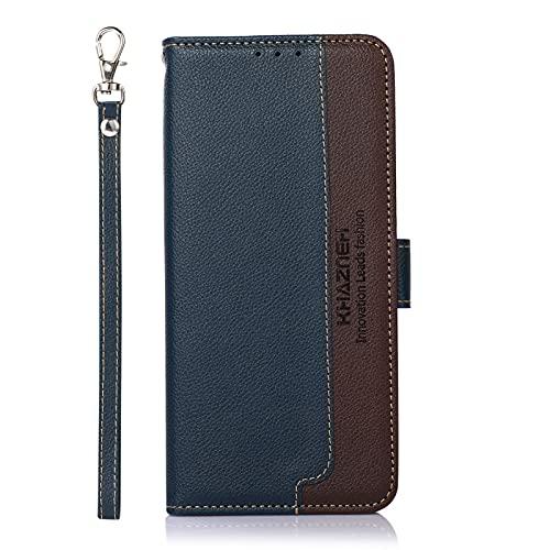 SCRENDY Handyhülle für Sony Xperia 10 III Hülle, RFID Schutzhülle, Leder Handytasche, Klapphülle Tasche, Magnetverschluss, Lederhülle Hülle Cover für Sony Xperia 10 III, Blau