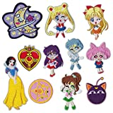 Iron on Patches 11 Pieces Anime Embroidered Iron on/Sew on Decorative Applique Patch Patches for DIY Jeans, Jackets, Shirts, Bag, Caps (Sailor Moon 11Pieces)