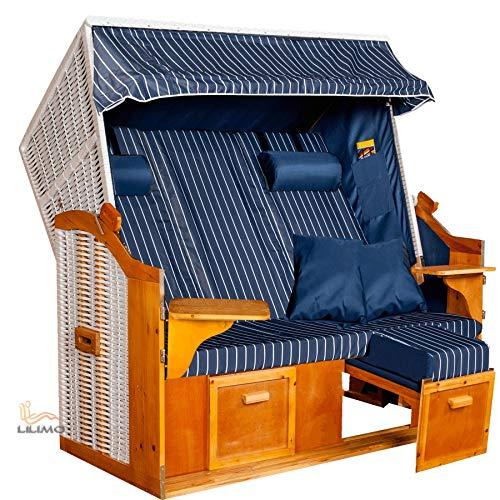 LILIMO - Strandkorb OSTSEE XXL | 2-3 Sitzer | Montiert | Geflecht: Weiß, Bezug: Blau/Weiß Nadelstreifen | Volllieger inkl. Schutzhülle | Model BLC