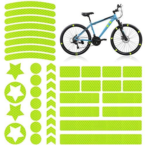 42 Pegatinas Reflectantes para Bicicletas, Cintas Reflectantes Impermeable, Adhesivo Universal para Bicicleta/Cochecito/Casco/Moto/Motocicleta/Cinta/Coche, Visibilidad de Noche, Amarillo
