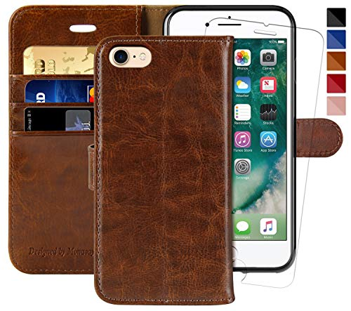 iPhone 6 Wallet Case/iPhone 6s Wallet Case,4.7-inch, MONASAY [Glass Screen Protector Included] Flip Folio Leather Cell Phone Cover with Credit Card Holder for Apple iPhone 6/6S (Brown1)