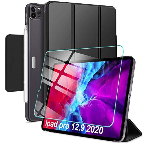 """AROYI Custodia Cover per iPad PRO 12.9 Pollici 2021 + Vetro Temperato, [Support Apple Pencil 2 Charging] Ultra Sottile Magnetica Clasp Case con Auto Svegliati/Sonno per iPad PRO 12.9"""", Nero"""