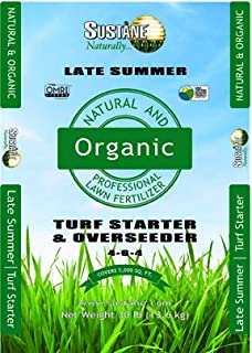 Sustane 4-6-4 Organic Turf Starter and Overseeder Fertilizer (Late Summer), 30-Pound