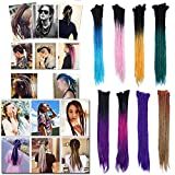"""Ombre Dreadlocks Black to Rose Red to Purple Hair Extensions for Men Women Tree Tones Reggae Braids Dreads Faux Locs Crochet Hair 24"""" Handmade Single Ended for Rock&Roll Hippie(15 strands)"""