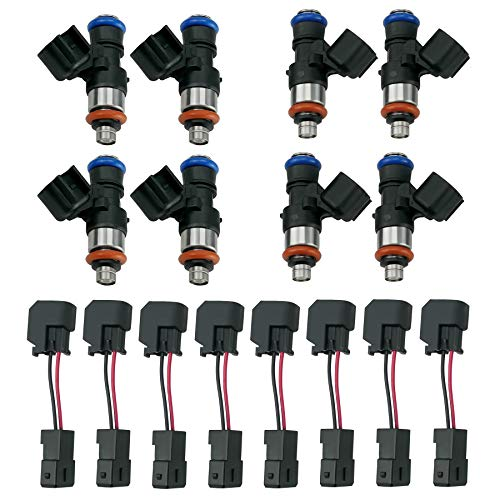Fuel Injectors Fits for GM Chevy Ford Camaro Corvette, 96LB High Impedance 1000cc Fuel Injectors, w/LS6 LT1 EV1 Engine Harness to LS2 LS3 LS7 EV6 Injector Adapter, EV1 to EV6 Injector Adapters
