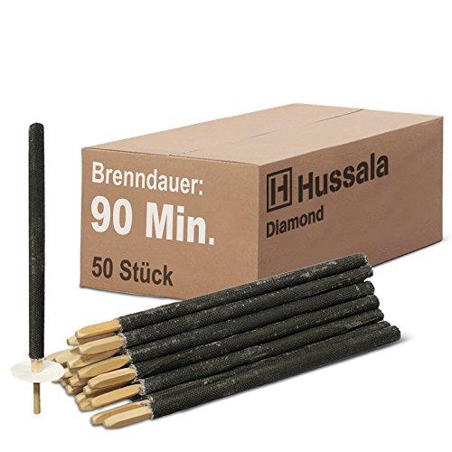 Hussala - Diamond Wachsfackeln Brennzeit 90 min Garten-Fackeln [50 Stück]