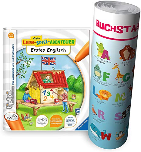 Ravensburger tiptoi ® Buch Mein Lern-Spiel-Abenteuer | Erstes Englisch - Schule, Buchstaben Zahlen - Lernen für Kinder ab 4 Jahre