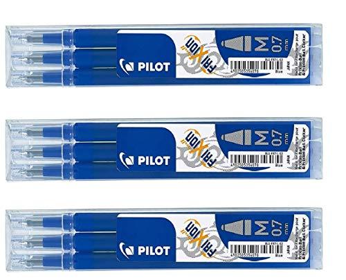 Pilot Frixion erasable pens refill, 9 refill bundle Blue color gel ink fine point 07 (Blue)