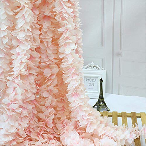Homcomodar Decorative Artificial Flower Hanging Vine Fake Silk Hydrangea Flower Garland Pack of 4 Plastic Flowers for Wedding Party Home Hotel Office Garden Craft Art Decoration(Champagne)