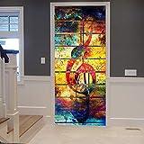 A.Monamour Pegatinas Decorativas de Puerta Autoadhesivo 3D Grunge Retro Colorido Pintura Notas Musicales Vinilo para Puertas Mural PVC Pegatinas de Pared Foto Poster 90 x 200 cm
