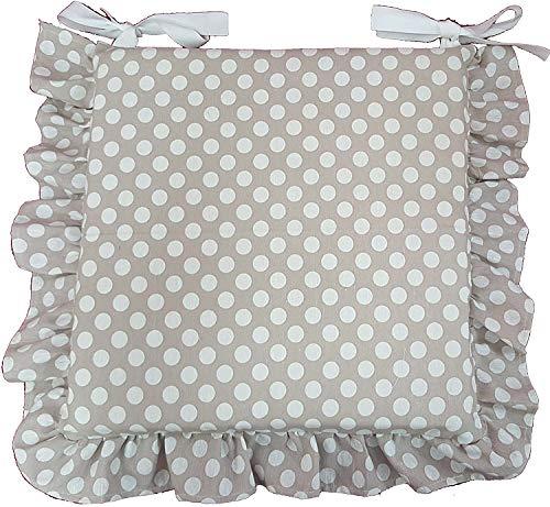 Euronovità, Set 6 Cuscini Beige Pois Bianco, con Volant 40x40 Spessore 5 cm, Copri Sedia Cucina