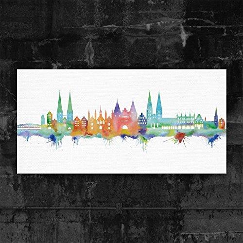 Kunstbruder Lübeck Skyline - Light (div. Grössen) - Kunst Druck auf Leinwand 40x80cm
