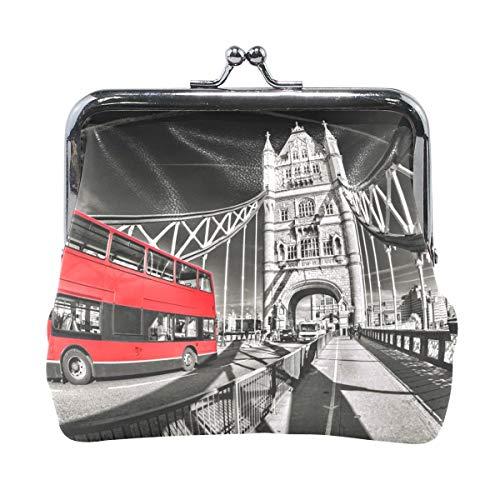 Berühmte Tower Bridge mit rotem Bus in London Coin Wallets Mini Geldbörse für Frauen Mädchen