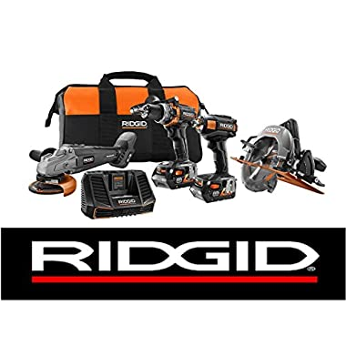 New Ridgid Limited Edition 18v (4) Brushless Tool Combo Kit + (2) 4ah Batteries & Charger