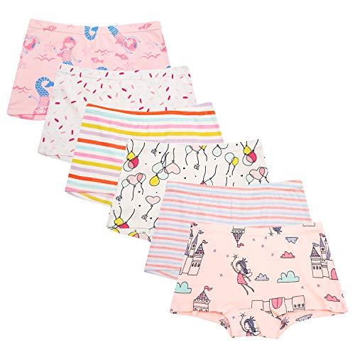 Cassiecy 6 Pack Kinder Mädchen Baumwolle Boxershorts Hipster Boxer Unterhose Panty Unterwäsche 2-13 Jahre (2-3Jahre, Stil 2)
