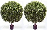 Two 35 Inch Outdoor Artificial Boxwood Ball Topiary Bush 28 Inch Wide Potted UV Rated