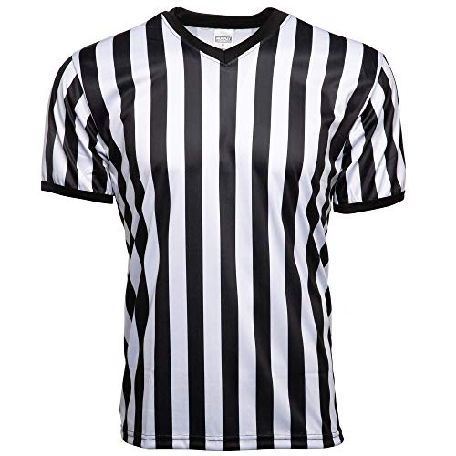 Murray Sporting Goods Men's Official Uniform Black and White Stripe Pro-Style V-Neck Referee Shirt, Officiating Jersey for Basketball, Football, Volleyball (Large)