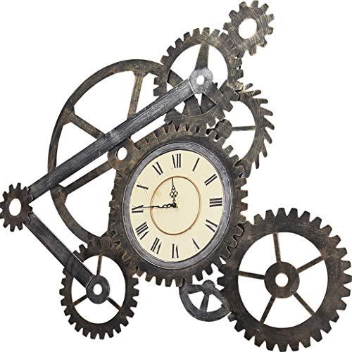 LQY Retro Industrial Wind Schmiedeeisen Gear Wanduhr, Bar Cafe kreative Wanddekorationen, Clock Decor, Wanddekorationen,Braun