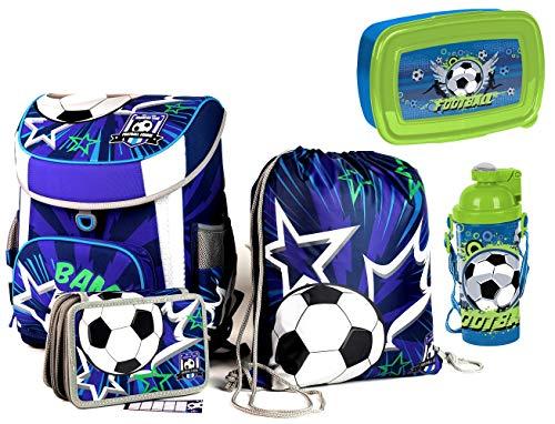 Schulranzen Fußball ergonomisch + anatomisch Schulrucksack | mit Reflektoren Tornister | Grundschule | SEHR LEICHT | Set 5 teilig | inkl. Sportbeutel, Federmäppchen, Brotdose, Trinkflasche