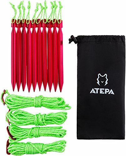 ATEPA Aluminum Outdoor Tent Peg Set with 10 Light-Weight Tent Stakes with Attached Reflective Pull Cords & 4 Reflective Guy Ropes for Camping, Hiking, Festival & Outdoor Tents
